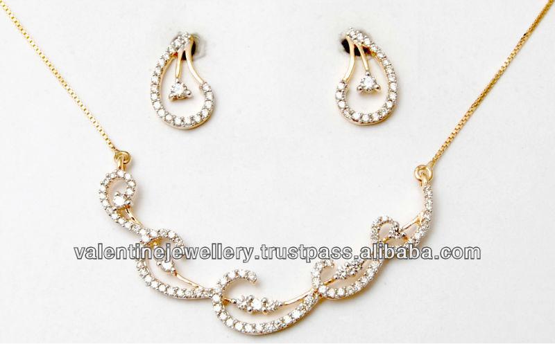 bb37ac525 wavy diamond necklace set tanmaniya design for price less than 1000 USD
