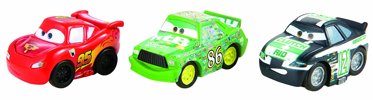 Cars Micro Drifters Chick Hicks, Clutch Aid and Classic Lightning McQueen Vehicle 3-Pack