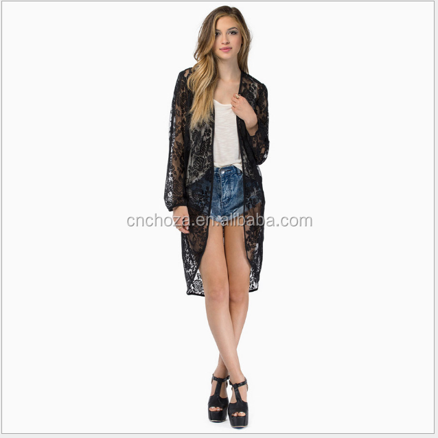 Z10699A Online shopping women's clothing black transprant lace cardigan