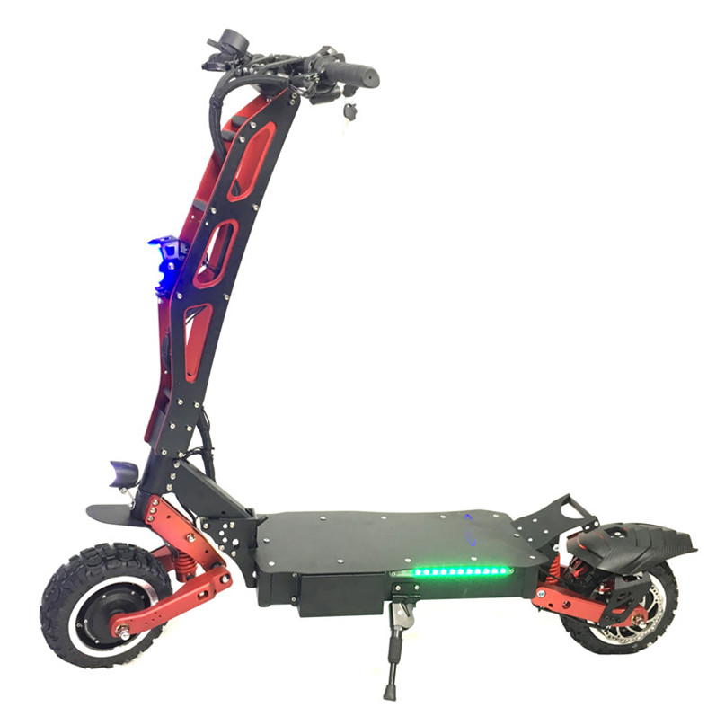 2019 FLJ Cheap Wholesale Foldable 11 inch 60V Dual Motors Electric Scooter 5600W, Black+red