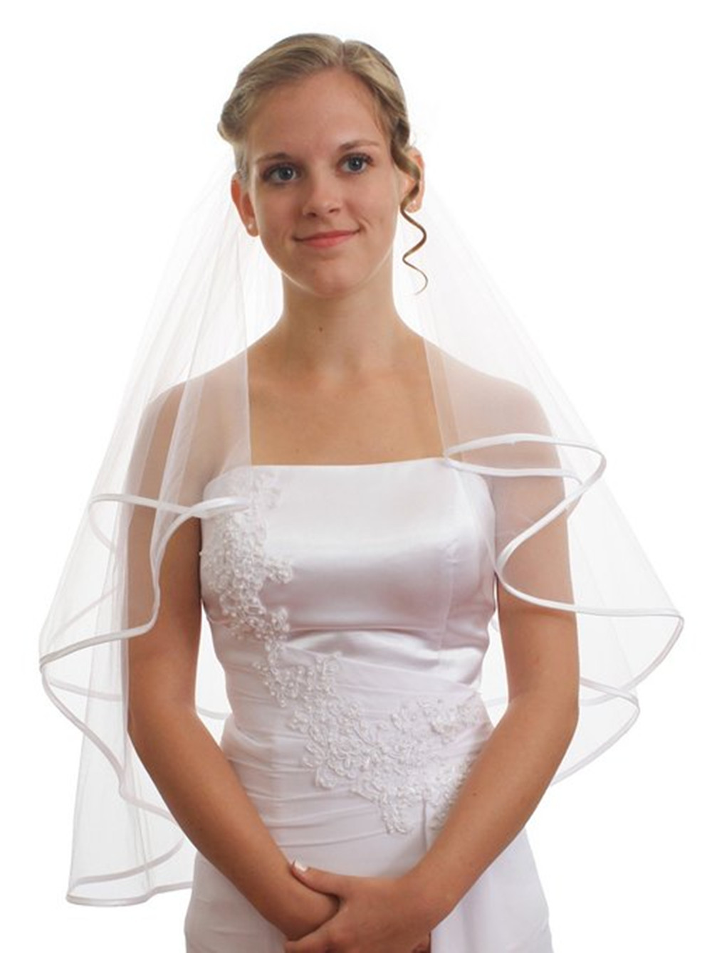 Top Selling Short White Veil Ribbon Edge Wedding Accessories Wedding Bridal Veils