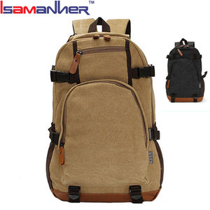 Men travel business custom khaki canvas backpack wholesale