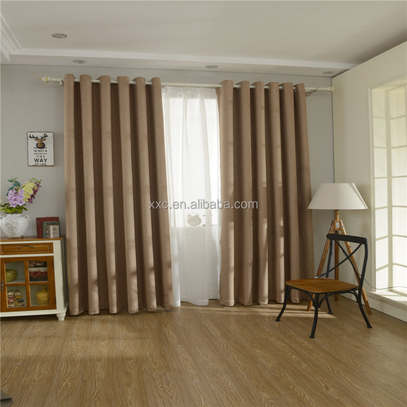 Factory plain polyester linen fabric for curtain