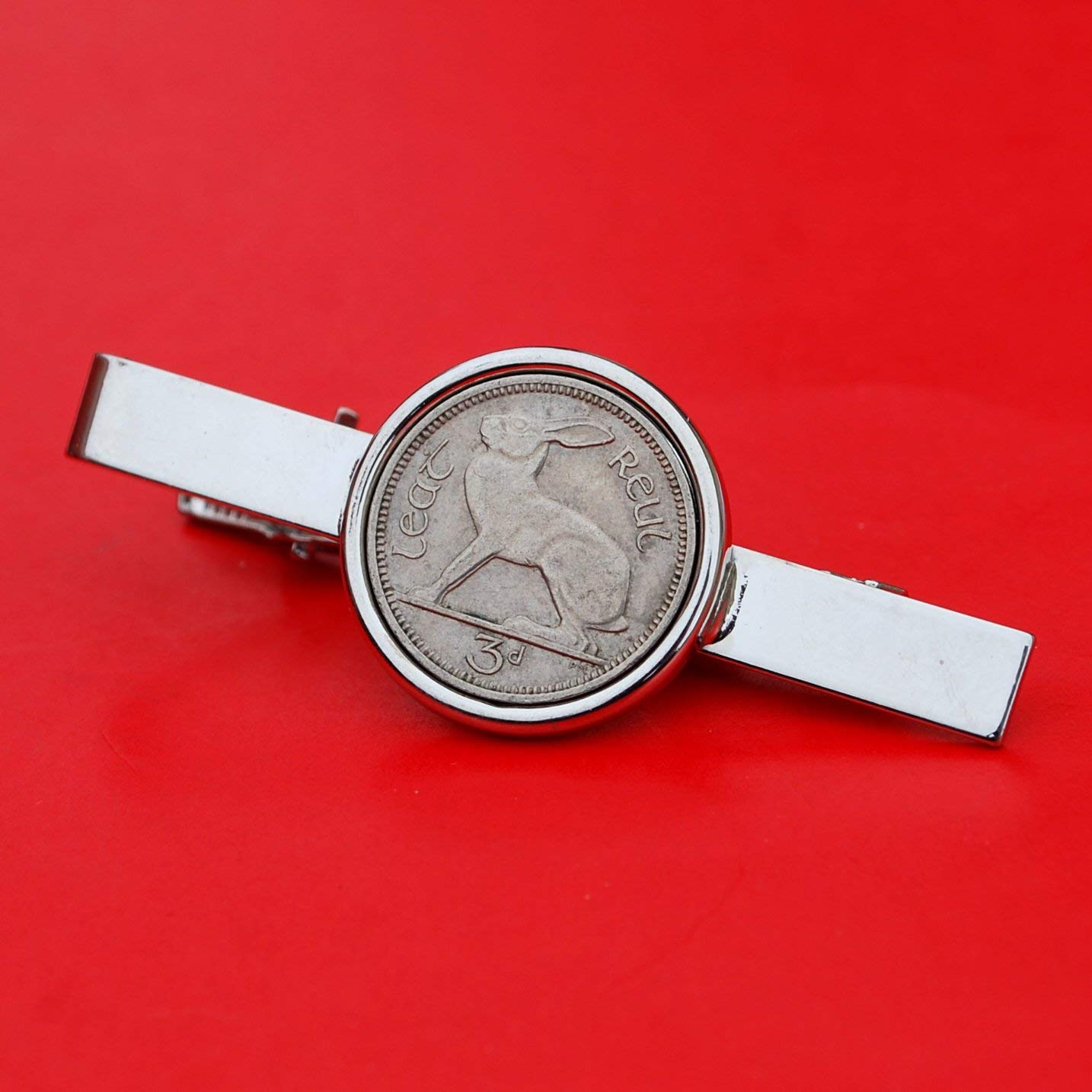 c6519dc58656 Get Quotations · 1928 ~ 1968 Irish Ireland 3 Pence Coin Silver Plated Tie  Clip Bar Pin NEW -