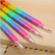 Korean creative stationery pencil rainbow versatile modular bullet deformation steadily stick pen lapices lapiz school supplies