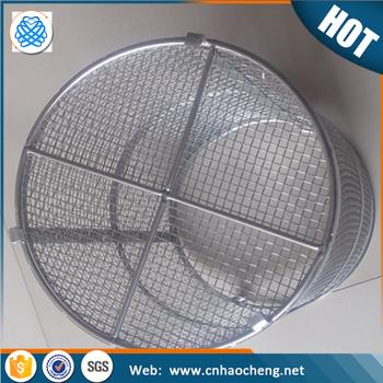 Food Grade 304 Stainless Steel Wire Mesh Round Basket - Buy ...