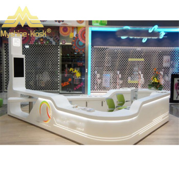 Transparent reception counter colorful information front desk