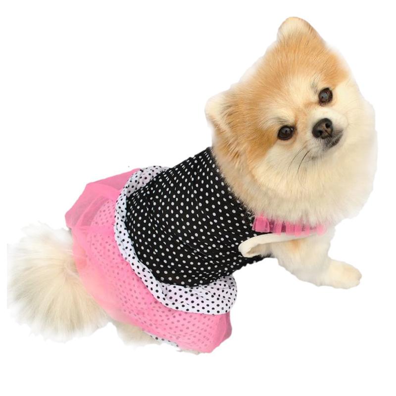 Новая Мода Щенок Платье Принцессы Собака Точка Юбка Собака Платье Ткань Аксессуар Для Маленьких Собак XS-L Бесплатная Доставка