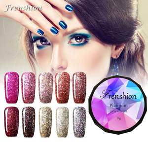 China professional nail art supply OEM wholesale uv/led soak off diamond bling colors Platinum 3 step Gel polish
