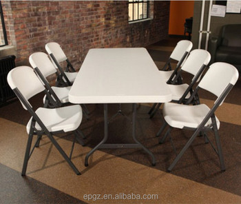 Folding School Dining Tables Plastic 5ft Table For 6 Person Can And