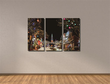 3 Multi-Panel Wall Decoration Christmas Theme Lighting Canvas painting