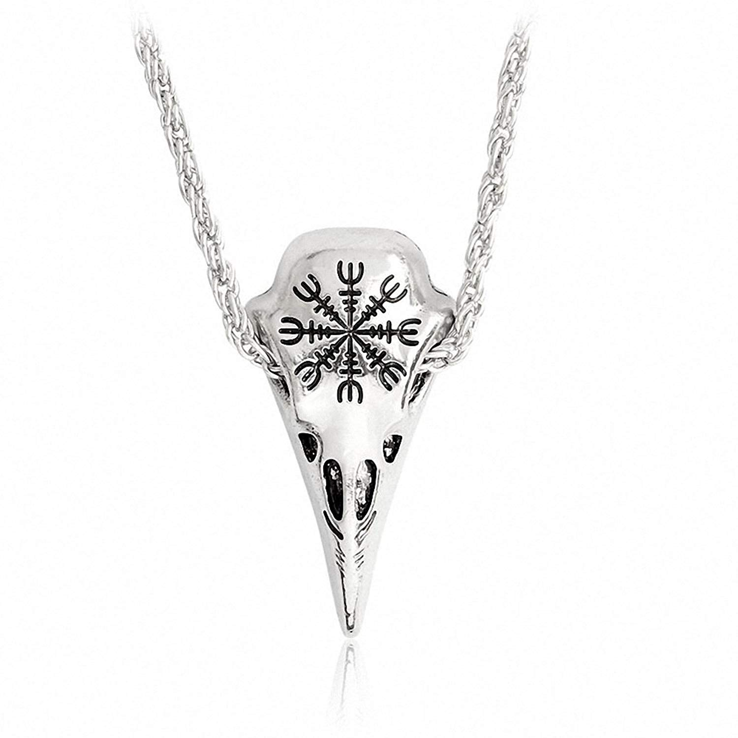 Lisadream Men's Necklace Viking Jewelry Norse Amulet Helm Of Awe Raven Skull Pendant with Chain/Leather Necklace for Men