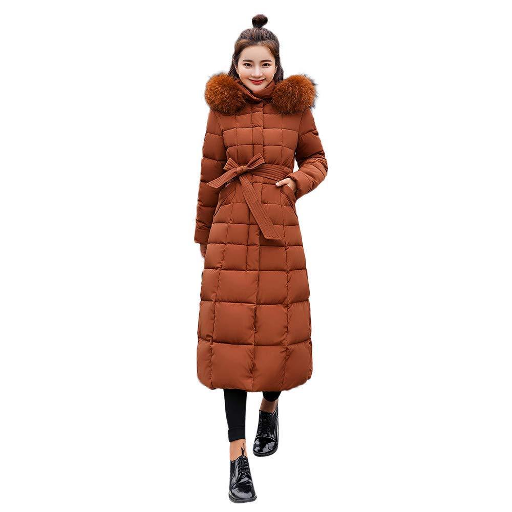 Coats For Women, Clearance!! Farjing Winter Sale Women Outerwear Fur Hooded Coat Long Cotton-padded Jackets Pocket Coats