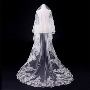 Soft Tulle Bridal Veil Lace Hem Wedding Accessories For Bride 2018