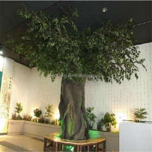 Shop large adornment fake ficus tree with fiberglass tree trunk with LED light lighting