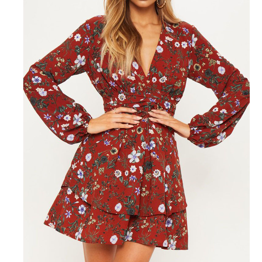 Hot sales cheap fashion custom Women's Long Sleeve Crew Neck Shift Dress in Floral Print