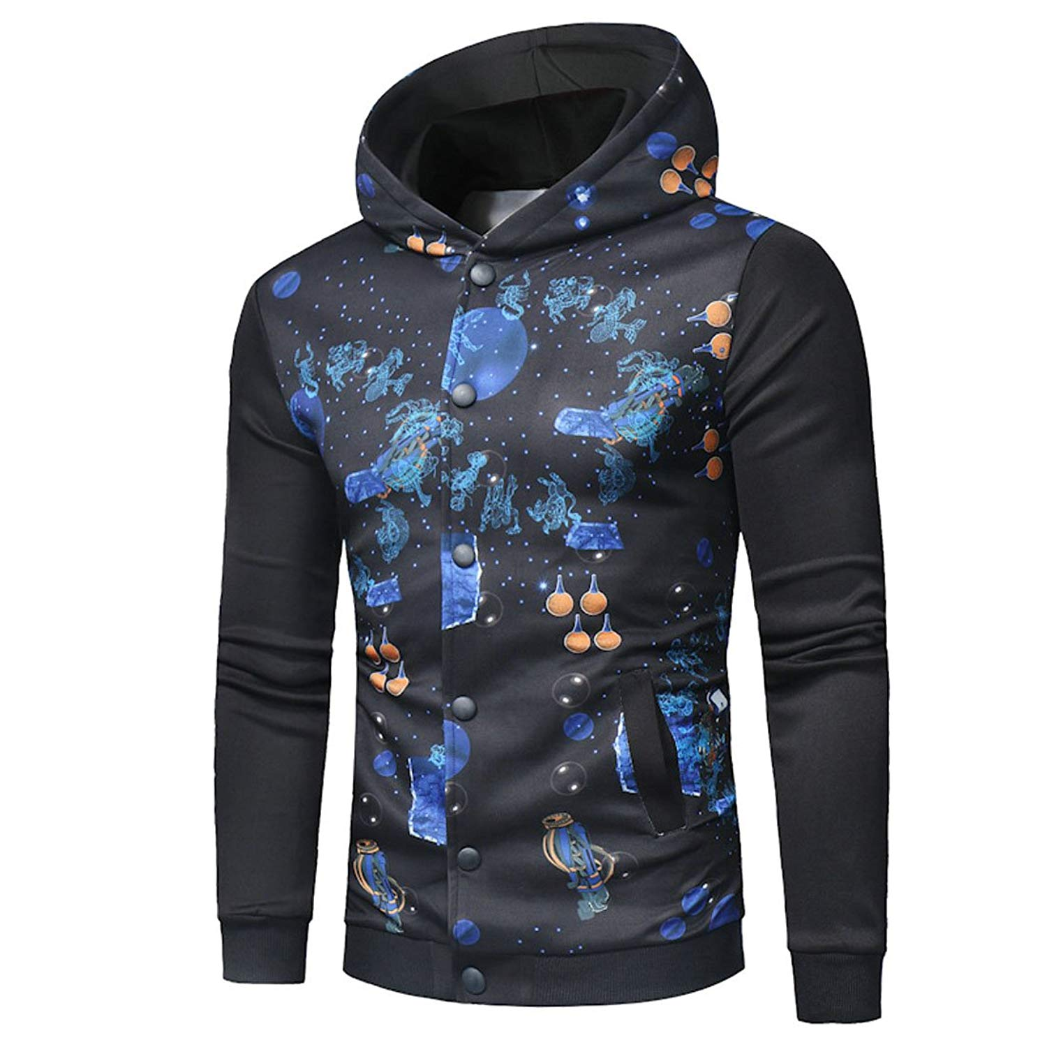 e77d65d21c5d Get Quotations · UUYUK-Men Autumn Print Button Front Hoodie Sweatshirt Coat  Outwear
