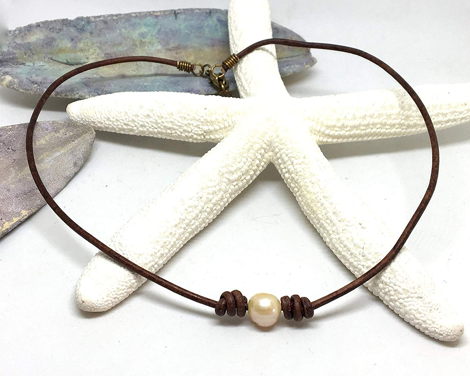 Leather Pearl Necklace, Freshwater Pearl, Pearl Choker, Boho Necklace, Gift for Her, Choker Necklace, Pearl Jewelry,Choker, Leather Necklace