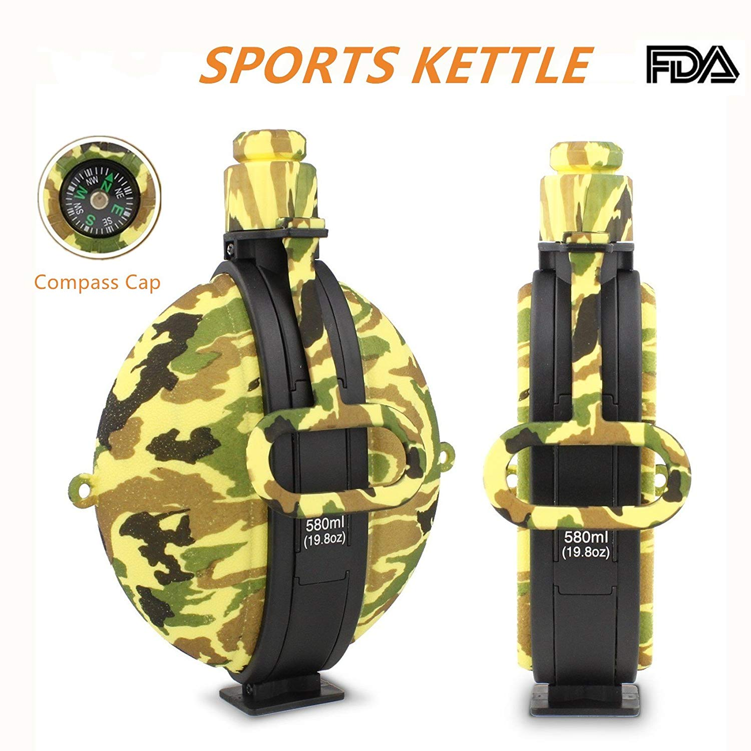 Collapsible Water Bottle Portable Silicone Water Kettle with Compass Bottle Cap