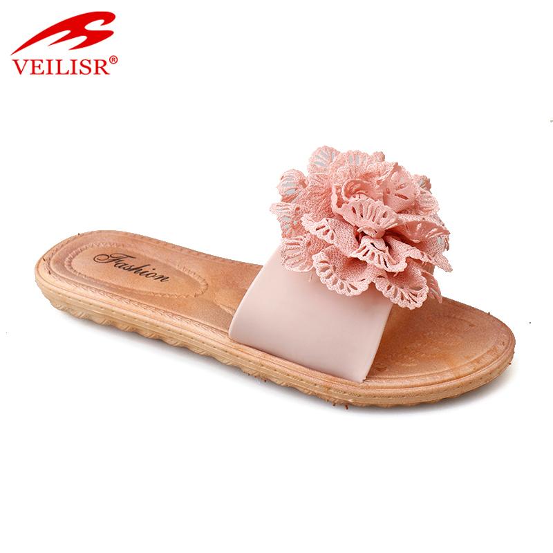 9e5f53987 New Style Flower Design Ladies Pvc Slide Sandals Women Slippers ...