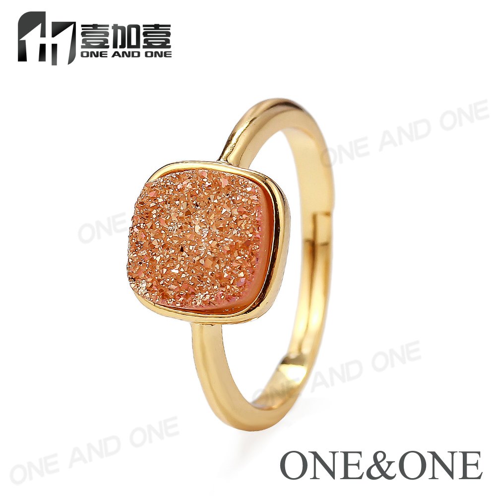 Top Design Wholesale Druzy Quartz Adjustable Ring Natural Drusy Cushion Cut Gold Plated Jewelry