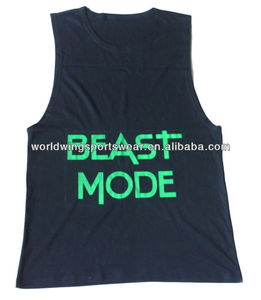 Mens custom black cotton lycra with green screen printed logos sports singlet