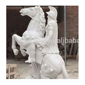 Good Quality Life Size Chinese Warrior With Horse Sculpture