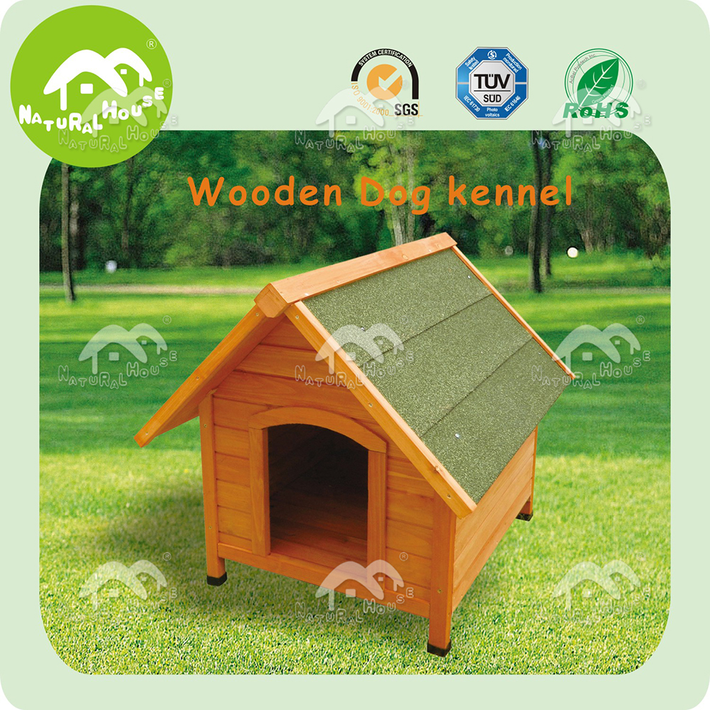 water resistant outdoor wooden dog kennel, roof dog house
