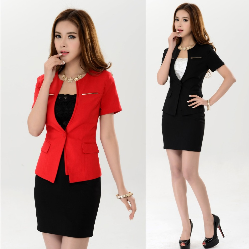 New 2015 Summer Ladies Red Blazer Women Suits with Skirt ...