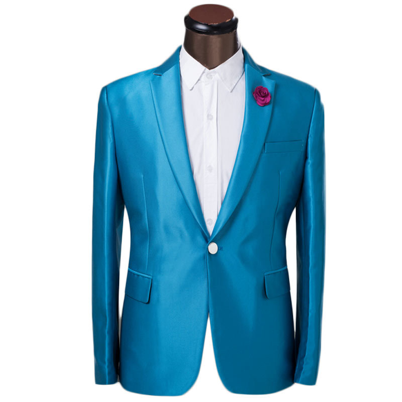 2015 New Arrival Men Suit Fashion Shiny Blue Design Mens Slim Fit Prom Tuxedo Suits With Pants Groom Wedding Suits For Men 6XL