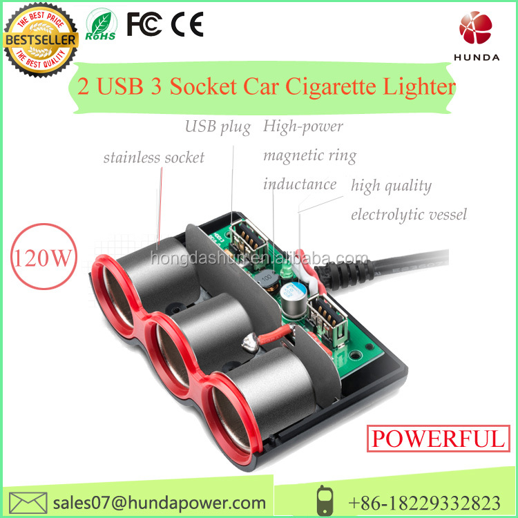 In-car 3 Sockets Cigarette Lighter DC 12V/24V Car Charger Splitter Multiplier +4.8A Dual USB Ports for Samsung s phone