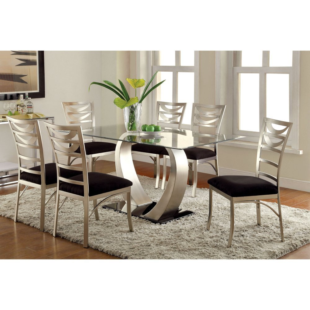 Get Quotations · Furniture Of America Vansant 7 Piece Dining Table Set With  Ladder Back Chairs