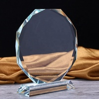 cheap wholesale transparent blank Octagon crystal glass trophy awards