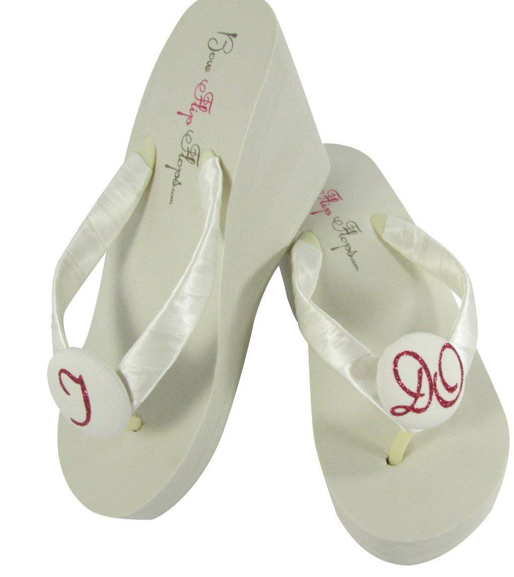 80057a0de Get Quotations · High Ivory Wedge I Do Wedding Flip Flops for the Bride -  many colors to choose