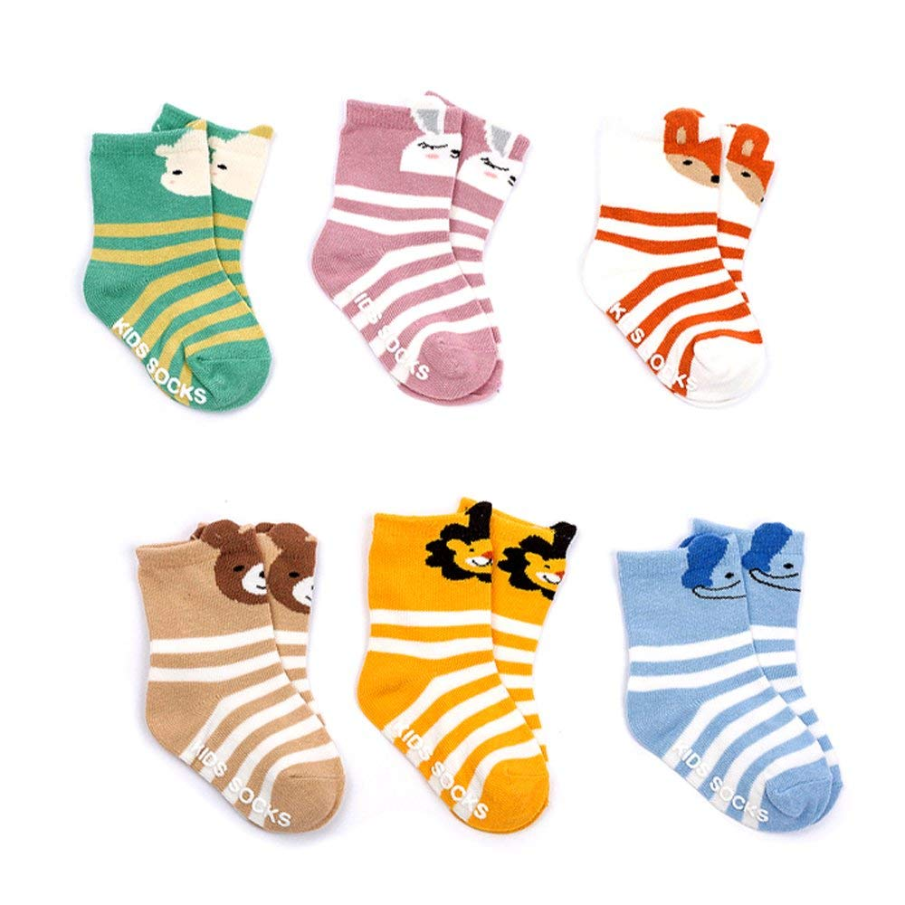Set of 6 ALLYDREW Peek A Boo Animal Non-Skid Toddler Socks for Toddler Boys /& Toddler Girls