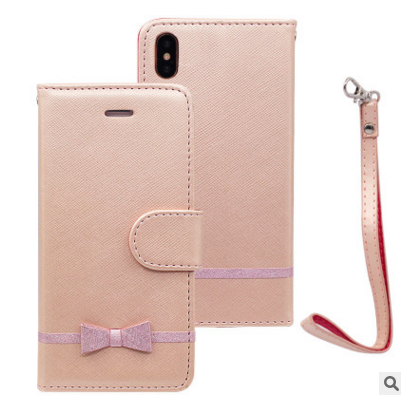Bowknot Leather PC Mobile Phone Case with Card Slot for iPhone X
