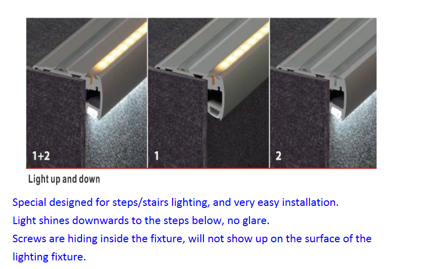 Lighting Basement Washroom Stairs: Led Lighted Aluminum Channel/profile For Stair Nosing