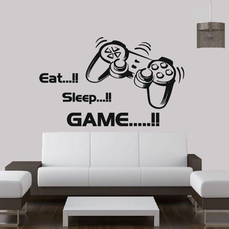 Free Shipping Eat Sleep Game Vinyl Wall Art Stickers Gamer
