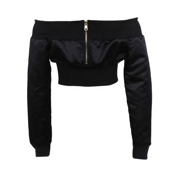 94fefe98ef3 Sexy Women Off Shoulder Cropped Jacket Coat Long Sleeve Zipper Casual  Midriff Baring Crop Top Black