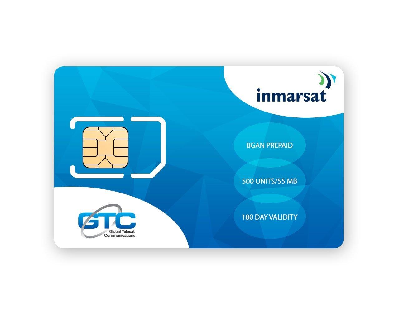 Inmarsat BGAN Prepaid SIM Card with 500 units (55.00MB*) valid for 180 days By GTC
