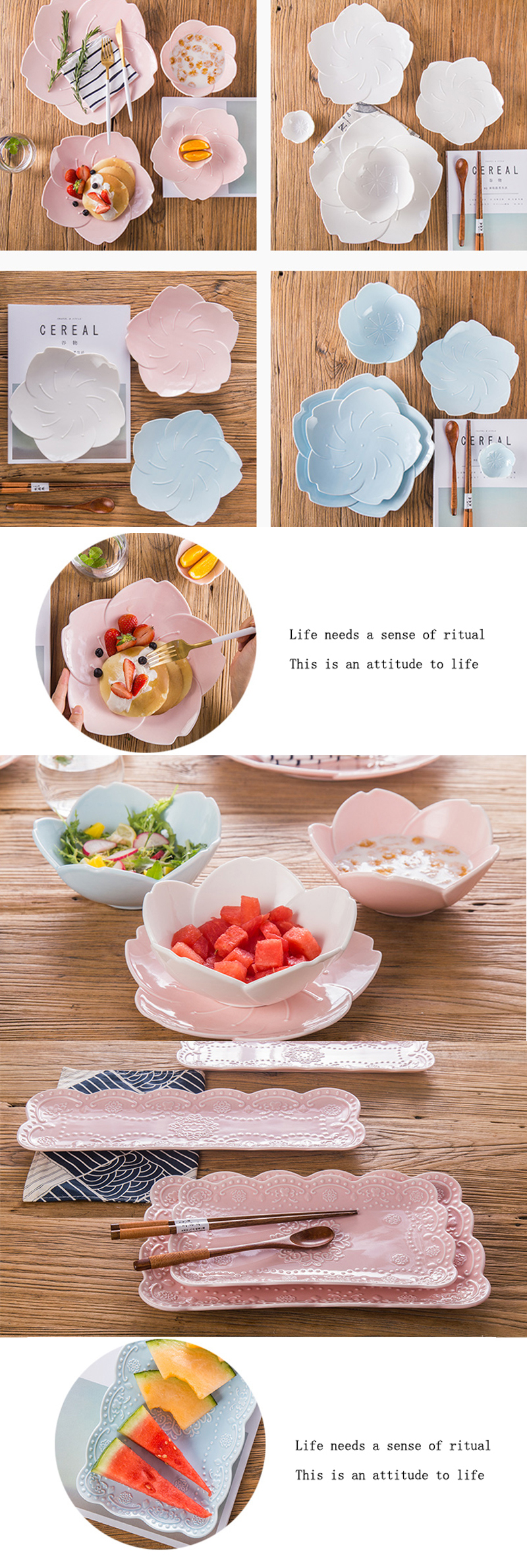 Ceramic Plate Japanese Cherry Blossom Creative Pottery and Porcelain Tableware Simple Food Dish Sakura Saucer 11 inch