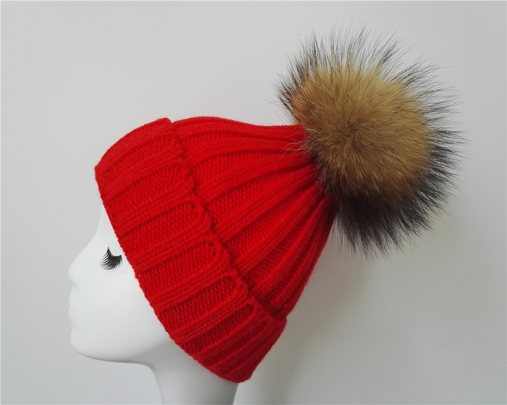 aabf82f0fa2 2017 2018 Custom real fur pom pom winter hat with detachable pompom beanie  100 soft
