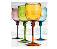 WG-013 Hand Mouth blown colored flower wine goblet glass for sale