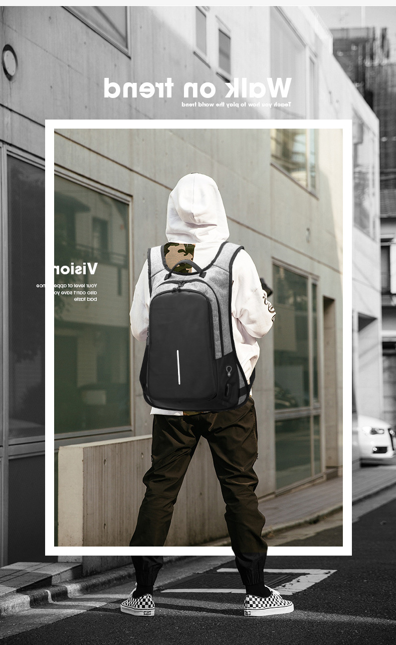 30% off  anti-theft travel laptop backpack, innovative business safe backpack with code-lock USB earphone