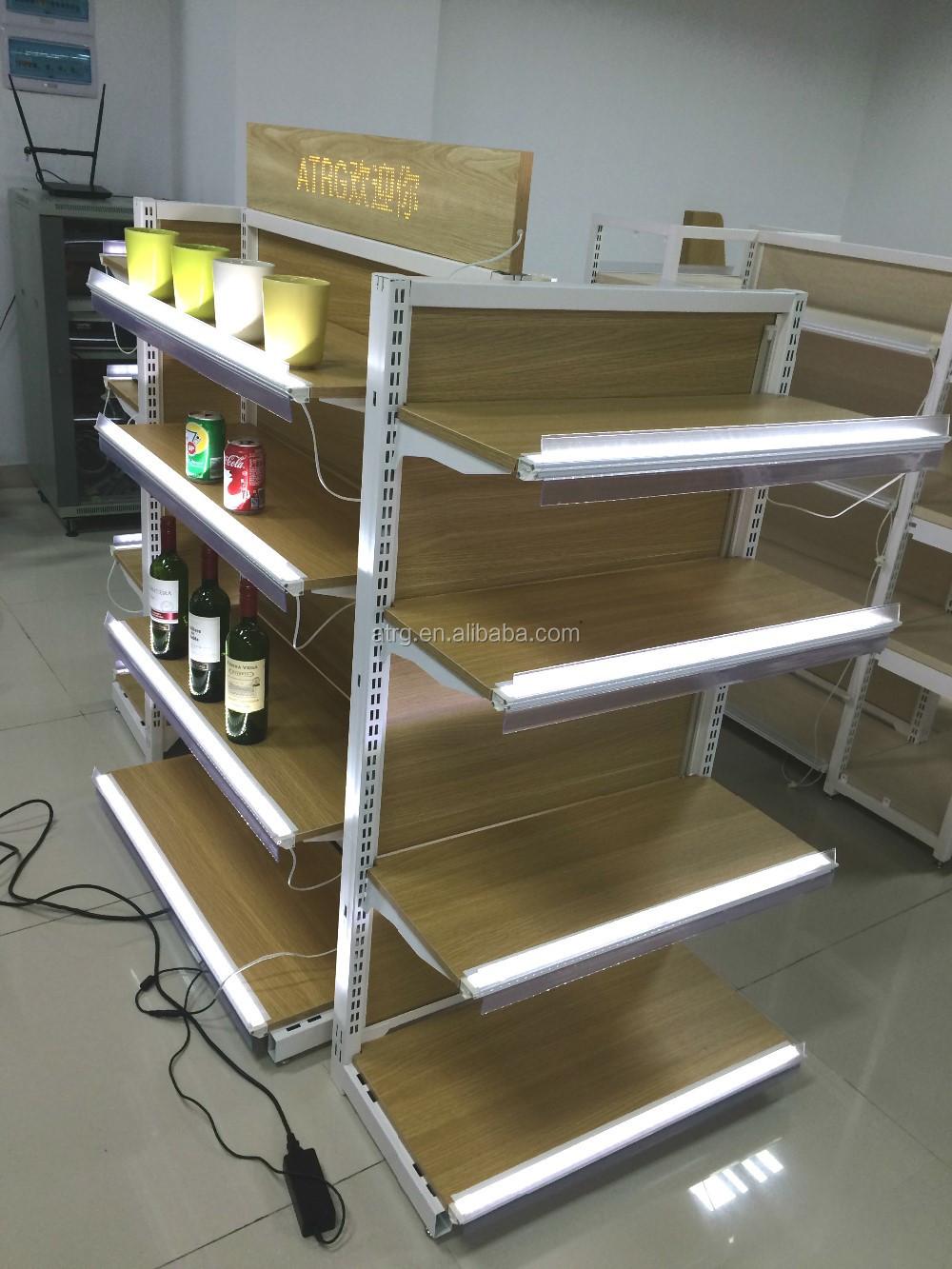 Food Store Wood Wall Gondola Shelving With Led Shelf Lighting ...