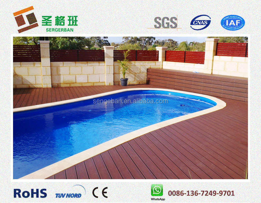 Wpc swimming pool decking composite swimming pool for Swimming pool flooring materials