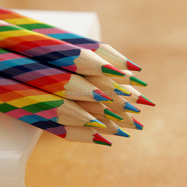 4 in 1 color pencils Four color with core wood colored pencil Rainbow Drawing Pencil