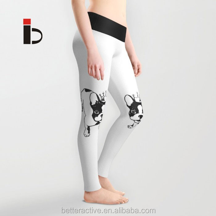 4 way stretch fabric polyester spandex dogs printed women sports leggings