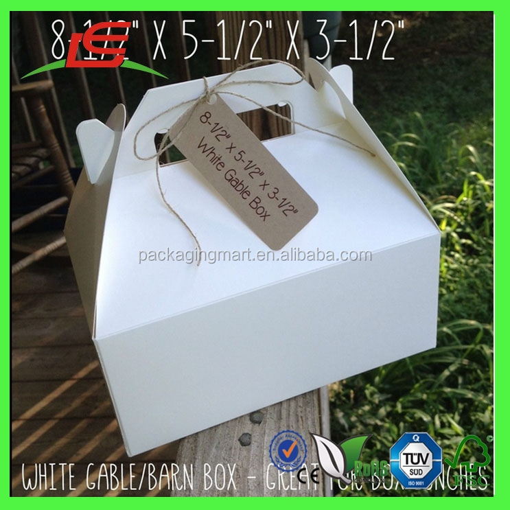J300 White Gable / Barn Boxes Folding Lunch Box Disposable with Handle Wholesale