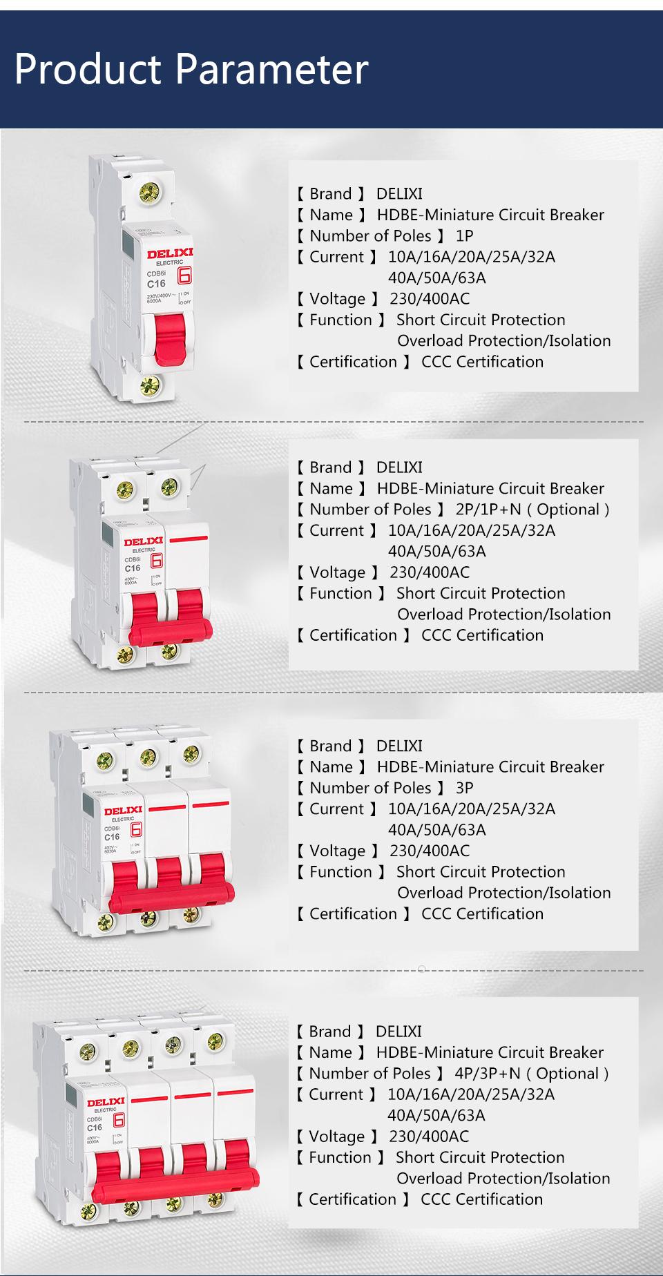 Delixi Cdb6i Ac 400v 10a 4p British Or European Standard Power Circuit  Breaker Remote Control Circuit Breaker - Buy Remote Control Circuit